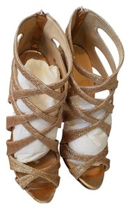 Christian Louboutin Glitter Sparkle Open Toe Gold/Nude Sandals