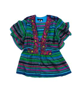 Nanette Lepore Multi Color Striped Beaded Top