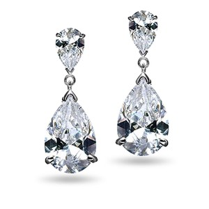 Mariell Elegant Cz Drop Wedding Earrings