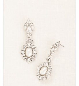 David's Bridal Art Deco Pearl Rhinstone Statement Earrings