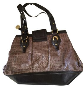 Brahmin Leather Tote in Metallic Brown