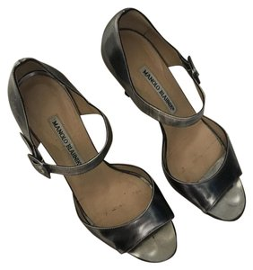Manolo Blahnik Silver grey/pewter Sandals