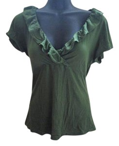 Anthropologie Ruffled Casual Knit Fall Top Green