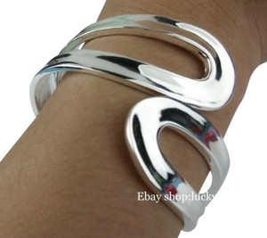 Lucky Shop Jewelry FREE SHIPPING!! New! This Heavily Silver Plated Bracelet will look Excellent For Decades. Large wide cuff bangle bracelet.that Opens in the Middle for Easy on & Off!