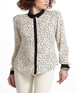 Anthropologie Button Down Shirt Ivory/ Black