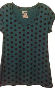 No Boundaries T Shirt Teal with Black Polka Dots