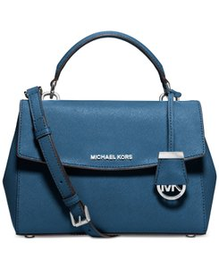 Michael Kors Leather Blue Silver Ava New With Tags Satchel in Steel Blue/Silver
