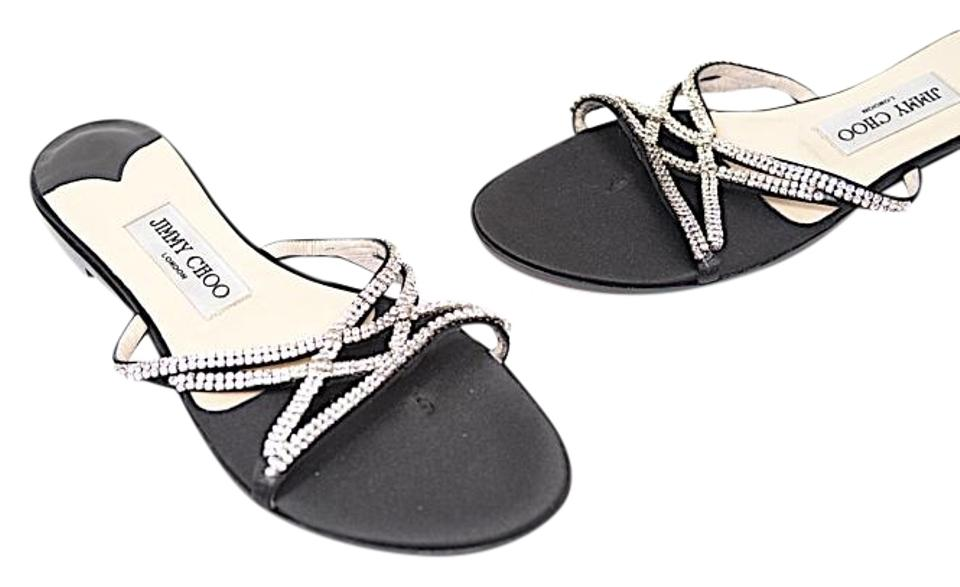 Jimmy Choo Black Flats W/Rhinestones Dressy Satin Slide Flats Black Sandals c1ca28