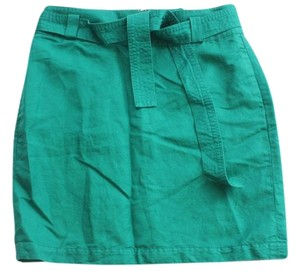 Banana Republic Linen Blend Straight Belt Skirt GREEN