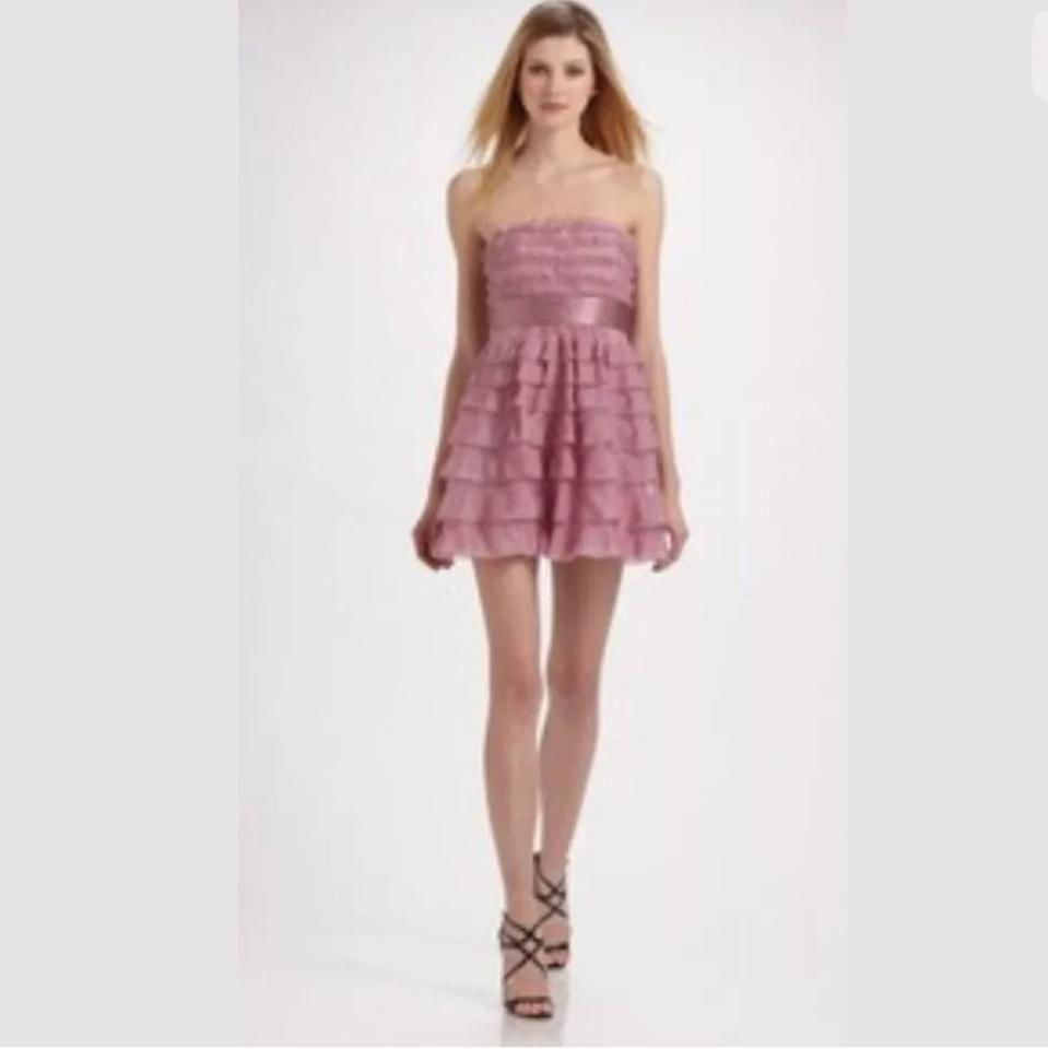 BCBGMAXAZRIA Pink Mignon Above Knee Cocktail Dress Size 12 (L) - Tradesy