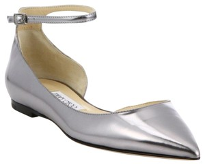 Jimmy Choo Designer Metallic Pointed Toe Silver Flats