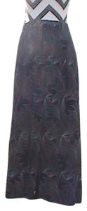 Unknown Excellent Maxi Skirt Black Printed