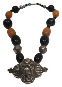 Nepalese Copal Amber and Black Beads with Silver Pendant Necklace