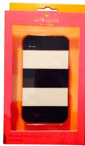 Kate Spade Kate Spade Hardshell Hybrid Black and White Bold Stripe 4/4S Case Cover