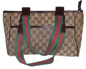 Gucci Extra Large Size Tote in shades of brown canvas/leather & red/green striped straps1