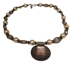 Chico's Costume necklace with pearl and glass bead pendant