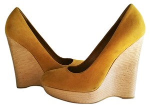 Saint Laurent Suede Leather Hollywood Golden Yellow Wedges