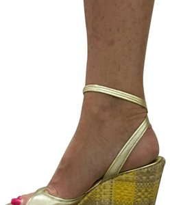 Cole Haan Gold/Natural Wedges