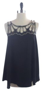 Rock & Republic Faux Leather Top BLACK AND GOLD