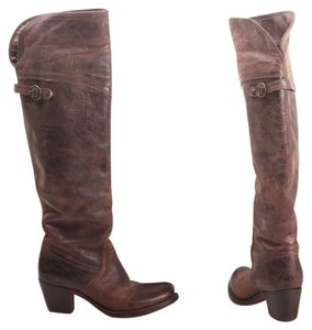 Frye Mid Heel Otk Over The Knee Brown Boots