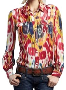 Lucky Brand Button Down Shirt Red, Yellow & Blue