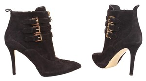 MICHAEL Michael Kors Pointed Toe Buckle Gold Suede Black Boots