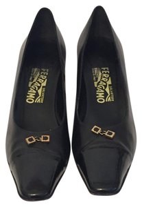 Salvatore Ferragamo Size 11 Narrow Black Pumps