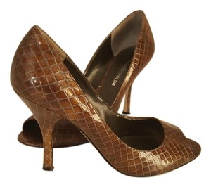 Enzo Angiolini Snakeskin Brown Pumps