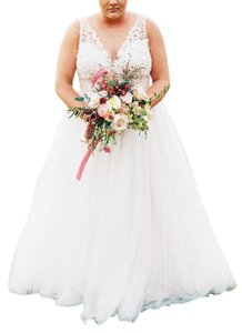Wtoo White W/ Blush Undertone Mostly Tulle Naomi Modern Wedding Dress Size 16 (XL, Plus 0x)