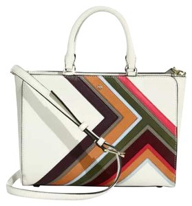 Tory Burch Saffiano Leather Satchel in White