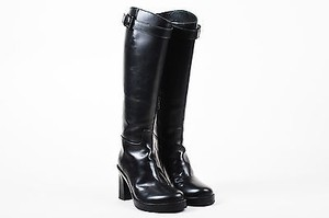 Ann Demeulemeester Leather Platform Chunky Heel Knee High Black Boots