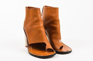 Céline Leather Silver Tone Metal Heel Open Toe Ankle Cognac Boots