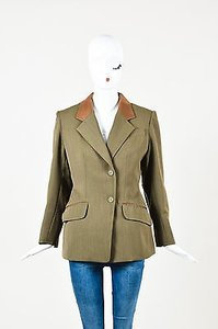 Hermès Vintage Hermes Olive Green Brown Wool Leather Trim Ls Notch Lapel Blazer