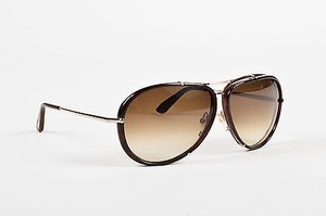 Tom Ford Tom Ford Gold Tone Brown Metal Frame Cyrille Aviator Sunglasses