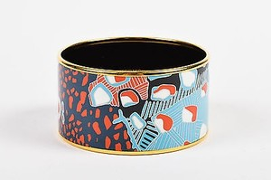 Hermès Hermes Gold Plated Blue Red White Printed Enamel Bangle Bracelet 65