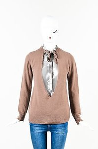 Marni Silver Metallic Cashmere Blend Layered Button Up Sweater