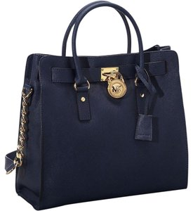Michael Kors Gold Saffiano Leather Large Mk Blue Tote in Navy Blue/Gold Hardware