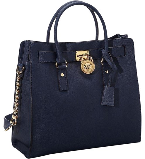 Michael Kors Saffiano Leather Large Purse Mk Tote in Navy Blue Gold  Hardware ... 541d8b0f89aaf