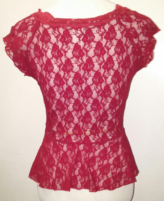 Fashion Magazine Blouse Top Red Lace