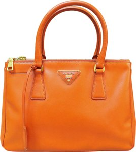 Prada Small Saffiano Lux Tote in orange