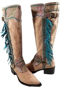 Donald J. Pliner Tall Western Fringed Tan/Blue Boots