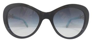 Tiffany & Co. Black and Tiffany Blue Silver Bow Accent Cat Eye Sunglasses
