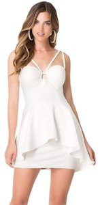 bebe short dress white Peplum Cut Out on Tradesy