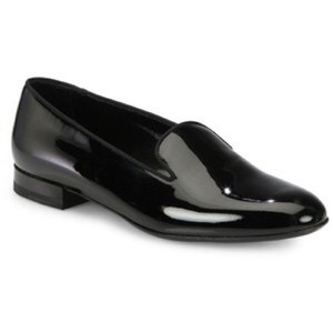 Saint Laurent Patent Leather Slipper Loafers Black Flats
