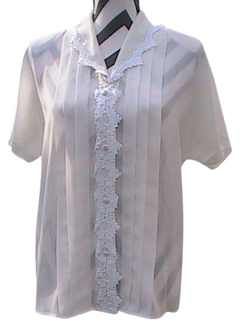 Other Pleated Front Button Chiffon Top White