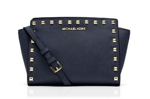 Michael Kors Selma Studded Stud Messenger Cross Body Navy Messenger Bag