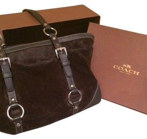 Coach Hidden Pockets Stylish Excellent Condition Roomy Tote in Dark Brown Suede & leather w/silver hardware!!!
