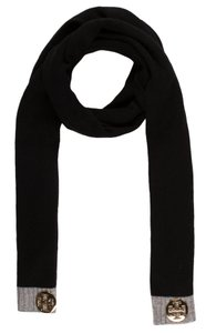 Tory Burch Black, grey cashmere Tory Burch Reva logo rib knit scarf