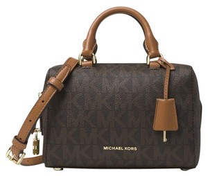 Michael Kors Signature Leather Satchel in Brown