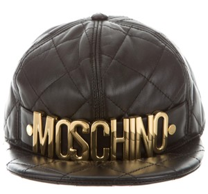 Moschino Black leather Moschino hat with gold-tone letter logo S Small 1d3aebc713d0